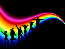 Party people. Silhouettes of funky people dancing on rainbow coloured background Stock Images