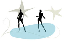 Party people. Several silhouettes of a party girls and women Royalty Free Stock Images