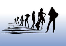 Party people. At the open air with shdows and silhouettes Royalty Free Stock Photo