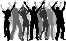 Party people. Silhouettes of lots of people dancing Royalty Free Stock Photo