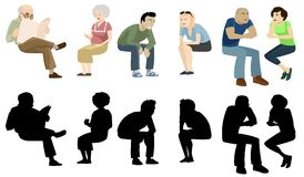 Party People 3. A set of separate icons or images illustrating people (males and females) sitting in different positions and doing a number of activities like Vector Illustration