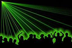 Party people. Excelent green laser party at the club with people Royalty Free Stock Photography