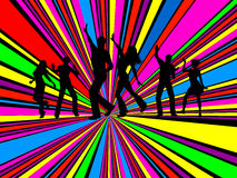 Party people. Silhouettes of people dancing on brightly coloured background Royalty Free Stock Photos