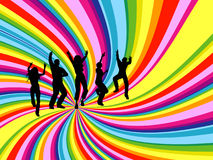 Party people. Silhouettes of people dancing on rainbow twirl background Royalty Free Stock Photo