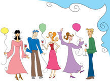 Party People. Stylized people partying and having fun Royalty Free Illustration