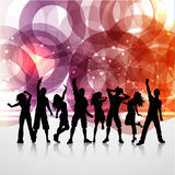 Party people background. Silhouettes of people dancing on an abstract background stock illustration