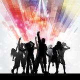 Party people background. Silhouettes of people dancing on an abstract background royalty free illustration