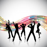Party people background. Silhouettes of people dancing on an abstract background vector illustration