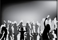 Party people black silhouette Stock Image