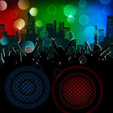 Party people city background. Party people with buildings in background and different colors vector illustration
