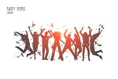 Party people concept. Hand drawn isolated vector. vector illustration