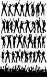 Party people and crowd. Silhouettes of people dancing and an excited crowd Stock Images