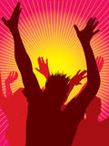 Party people dancing. Vector silhouettes of young people dancing and sunburst background Stock Photography