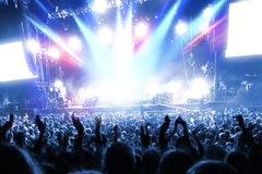Party people at a frenetic pop concert. Landscape exterior stock photography