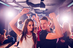 Party people. Group of people on the party in the nightclub stock images