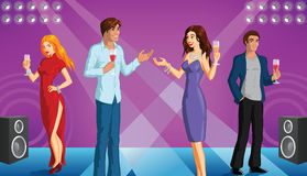 Party people illustration. A vector illustration of a party scene with people having fun Stock Images