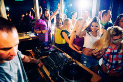 Party people. In the nightclub stock images