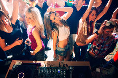 Party people. People on a party in the nightclub. High angle view stock photo