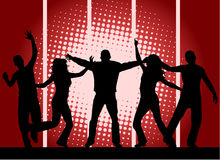 Party people - red background Royalty Free Stock Photo