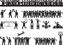 Party people silhouettes Royalty Free Stock Image