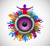 Party people with sound speaker Stock Photo