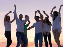 Party people on sunset royalty free stock photography