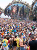 Party people. View of the main stage and party people of the Tomorrowland festival in the town of Boom, Belgium (Friday, 25th of July 2014 Royalty Free Stock Images