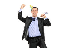 Party person celebrating isolated on white Royalty Free Stock Image