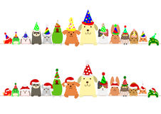 Party  pets border set. Cute  pets border set with Christmas hat and party hat Royalty Free Stock Photography