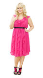 Party in Pink - beautiful woman in pink dress Stock Photos