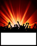 Party Placard. An illustrated background of a party placard with a design of silhouetted people on beams of disco lights Royalty Free Stock Photo