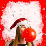 Party planning santa girl at Christmas event Stock Photo