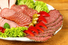 Party plate with smoked meat Royalty Free Stock Photography