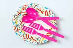 Party plate with spoon and fork Royalty Free Stock Photo