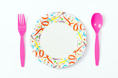 Party plate with spoon and fork Royalty Free Stock Photography
