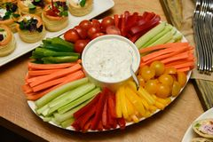Party plate of vegetable snack with the garlic dip. stock images