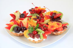 Party platter with fruit cakes Stock Image
