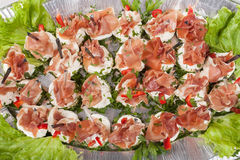 Party platter of sandwiches. Catering food. Top view Royalty Free Stock Photography