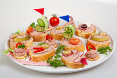 Party platter with sandwiches Stock Photos