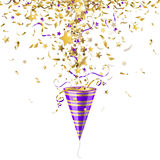 Party popper with confetti. Party poppers with gold confetti on a white background Royalty Free Stock Photo