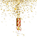 Party popper. With gold confetti Stock Photos