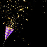 Party Popper with Gold Confetti Royalty Free Stock Photography
