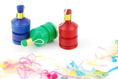 Party poppers. Colorful party poppers isolated on white background Stock Image