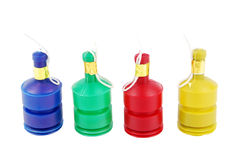 Party poppers. Colorful row of party poppers (isolated on white background Royalty Free Stock Image