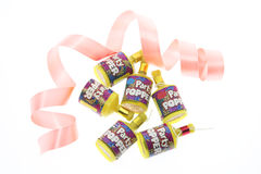 Party Poppers and Curling Ribbon Royalty Free Stock Images