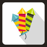 Party poppers icon, flat style. Party poppers icon in flat style on a white background vector illustration Stock Images