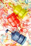 Party Poppers. A studio photo of party poppers stock photo