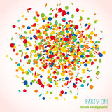 Party On! postcard. Colorful confetti frame. Party On! postcard. Colorful confetti frame for text. Bright colors. Birthday template with copy space. Can be used vector illustration