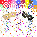 Party poster. Illustration of colorful handprints and mask on a confetti background Royalty Free Stock Images