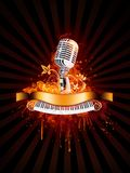 Party Poster. With Microphone and Piano in Fire Flame Stock Images